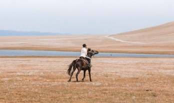 Person riding a horse in the open plains
